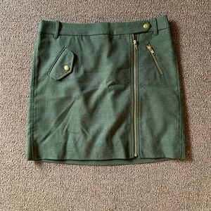 J.Crew Green Wool Moto Skirt